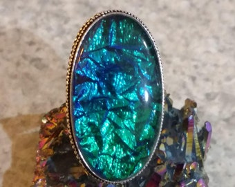 Fancy Dichroic Glass Ring Size 9 1/2