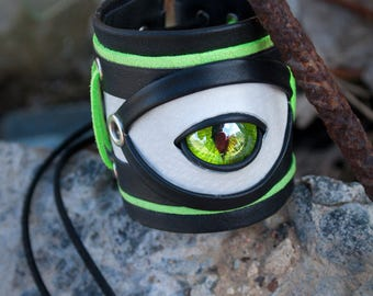 Cyber Industrial leather cuff bracelet with eye, Cybergoth cyberpunk black white green cuff bracelet, Cyber gothic bracelet, Dragon eye