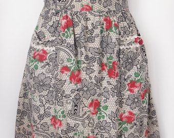 1960's Lace and Rose Novelty Print Sun Dress