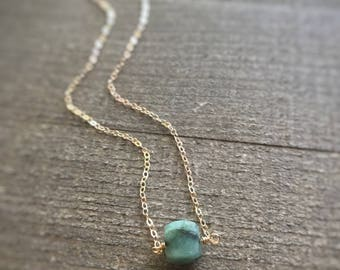 14k gold filled sterling silver tiny faceted green emerald cube box bead necklace / bridesmaid / minimalist / dainty / May birthstone