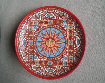 "Russian folk art. Hand painting on wood plate. Ancient Russian style. "" Sun""Original."