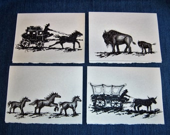 Black & White Western Art Greeting Cards, Set of 4 Original Pen and Ink Drawings, Blank Cards with Envelopes