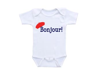 Bonjour Baby Shirt or Gerber Onesie® Bonjour Bebe French Onesie® French Beret Baby Outfit Paris Theme Baby Shower Paris Onesie® French Baby