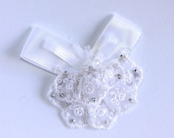 Beaded Ribbon and Lace Hair Barrette