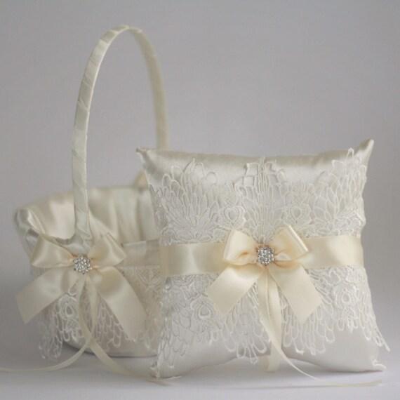 Flower Girl Basket Lace Ring Bearer Pillow Set Lace Wedding Basket