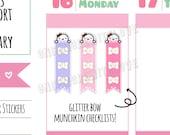 Munchkins - Pastel Peeking Munchkin with Glitter Bow Checklist Planner Stickers (M281)