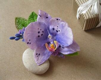 Beach wedding headpiece Purple hair flower Purple orchid hair flower Tropical hair flower Orchid headpiece Hawaiian wedding Beach party