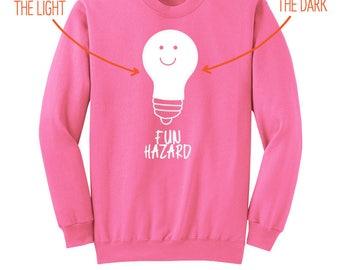 "Gravity Falls - ""Glow-in-the-Dark Fun Hazard"" - Gravity Falls Sweatshirt - Mabel Pines Sweatshirt - Neon Pink Adult Crewneck Sweatshirt"