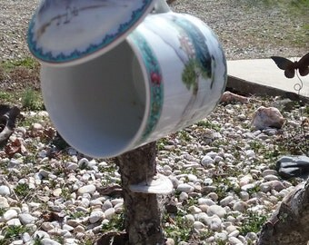 Oriental Themed Mug With Lid Repurposed Into Bird House To Hang In Your Yard or Flower Garden
