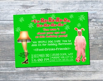 A Christmas Story Invitation, Leg Lamp Invitation, Ralphie Christmas Story Invitation, Christmas Party Invitation, Digital Printable