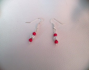 Pretty Deep Red Beaded Dangle and Drop Earrings - Perfect for Special Occasions and for Gifts!