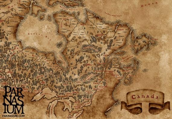 Fantasy Map Of Canada Wall Art Print Wall Decor Fantasy