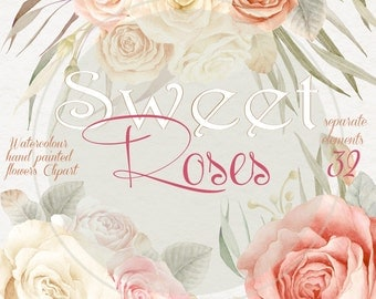 Watercolor Sweet Roses Clipart Collection - Separate elements, Romantic Wedding, Invitation, greeting card, PNG,  DIY, Scrapbooking