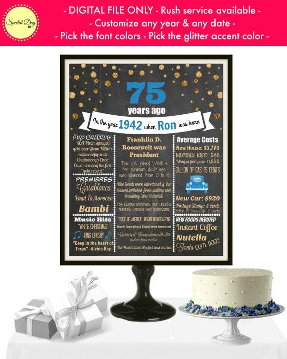 75th birthday chalkboard sign 75th birthday party 75th for 75th birthday decoration