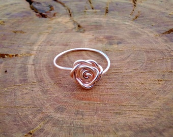 Rose Gold Rose Ring, Wire Wrapped Rose Ring, Rose Gold Ring, Rose Ring