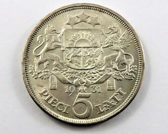 Latvia 1931 Silver 5 Lati Coin.