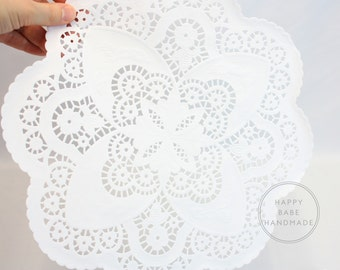 12 Inch Doilies, French Lace Pattern, 25 Doilies, Paper Doilies, Lace Doilies, White Doilies, Vintage Wedding, Lace Tableware, Bridal Shower