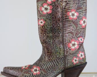 "1990s Cowboy Boots - Floral Embroidered - Faux Snakeskin Durango Cowboy Boots - Size 7 US - Leather Upper - Brown Pink White 2.5"" Heel"