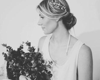 "Wedding ""Miranda Crown"", bridal headpiece, hairvine, flower crown, vintage hairstyle, Made in italy"