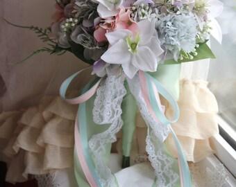 Bridal bouquet , Silk bouquet , Wedding bouquet , Garden bouquet , Elegant bouquet , Bouquet with Groom's Boutonniere No41_008W