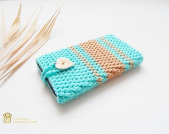 Turquoise phone case. Cell phone case. Cell phone covers. Phone Accessories. Electronics Cover. Cell Phone Cozy. Crochet phone cover