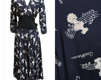REDUCED 1940s Novelty Print Beethoven Sonatas Rayon Dress