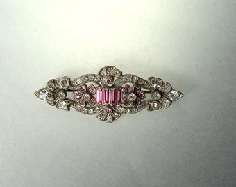 Antique Art Deco Crystal Rhinestone Brooch Pot Metal Pink Crystal Accents