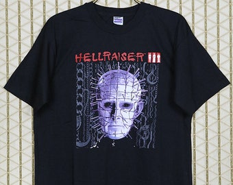 Hellraiser 3 shirt, vintage rare horror movie t-shirt, black tee, double sided, 1993, Pinhead, Clive Barker, Time To Play