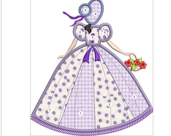 SOUTHERN BELLE APPLIQUE  lilac doll machine embroidery download 3 diff sizes (6x7  5x6   5x5)