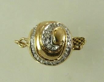14k Yellow Gold & Diamond 0.08ct Clasp, 11mm