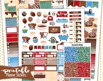 Fall in Chocolate Deluxe Weekly Kit | PRINTABLE Planner Stickers | Pdf, Jpg, and Png Format | ECLP Vertical Planner Stickers