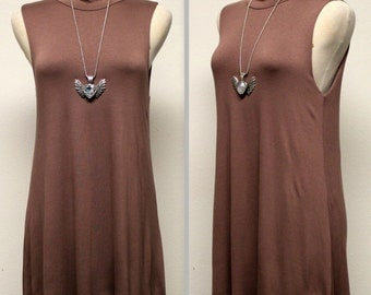 Sleeveless Tunic Top, Long Tunic, Adorable and Comfortable,  Light Brown Color, S, M, L