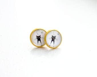 Cat Studs Black Cat Earrings Cute Studs Cat Earrings Post Tiny Studs Small Studs Simple Studs Cat Lover Gift Cute Post Cat Lover Jewelry