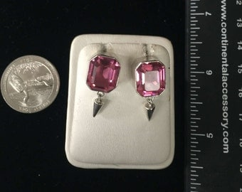 Vintage Sterling Silver Pink Stone Earrings - AB