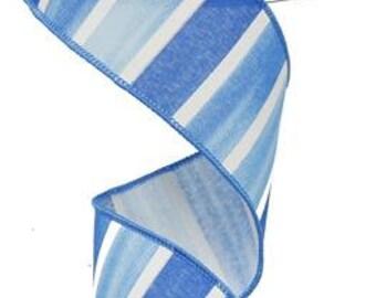 RIBBON - Wired Ribbon - Blue Ribbon - Striped Ribbon - Blue and White Ribbon - Wreath - Floral Ribbon - RG0143903