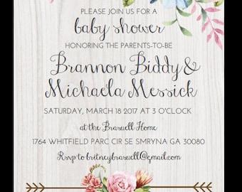 5x7in Digital PDF Floral Print Baby OR Bridal Shower Invitation