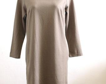 Two dollars dress Clearance SALE  -Vintage minimalism olive green stripe high neck shift dress