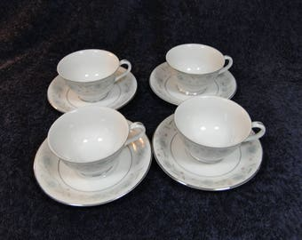 FOUR Fine China of Japan English Garden 1221 Tea Cup and Saucer Sets 4 EXCELLENT!