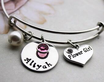 flower girl name bracelet, flower girl bracelet, flower girl name jewelry, flower girl jewelry, flower girl bangle,flower girl name