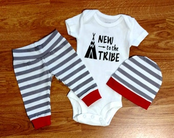 NEW to the TRIBE Going Home Outfit shower gift bodysuit shirt pants hat red gray white stripe preemie coming home hospital photos baby boy