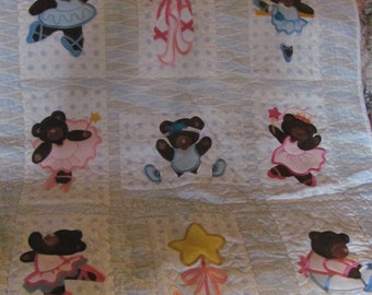 Baby Quilt Machine Embroidered Ballerina Bears