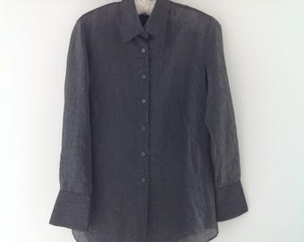 90's blouse, ladies blouse, vintage shirt, womens shirt, tunic top, grey blouse, work blouse, ladies shirt, 90's clothing, vintage top