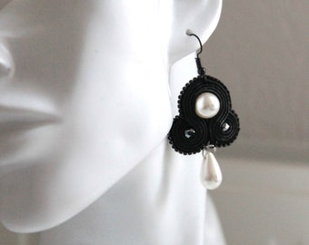 Small black soutache earrings with white pearl and pearl drop. Handmade. For special events, weddings and parties
