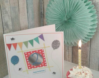 2nd BIRTHDAY CARD/ Greetings Card/ Childrens Age Cards/  TWO Year Old/ Bunting / Balloons / personalised