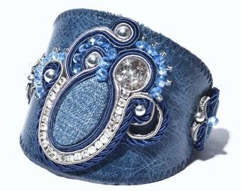 Bracelet Leather Denim Blue Crystals Soutache