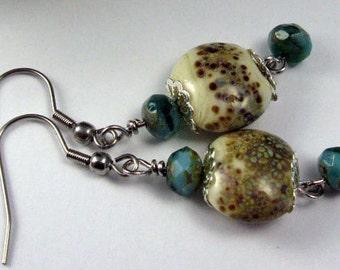 Earrings, Pendants, Lampwork, turquoise-ivory