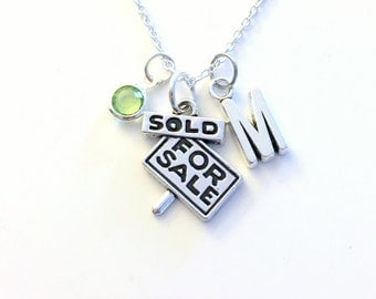 Gift for Realtor Necklace, Real Estate Agent Jewelry, Sold Sign Charm, For Sale Pendant Initial Birthstone present New First Home Keepsake