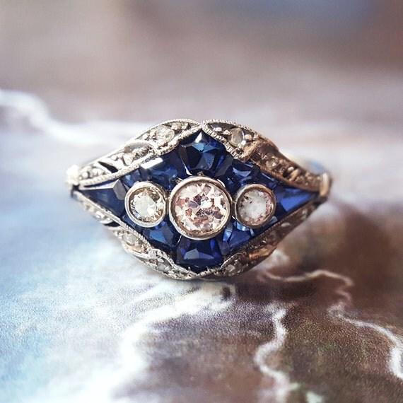 Edwardian Engagement Ring | Sapphire Engagement Ring | Antique Engagement Ring | Vintage Engagement Ring | Vintage Sapphire Ring | Art Deco