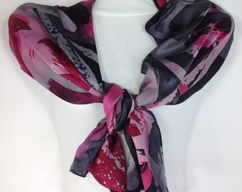 Silk Scarf Hand Painted, Cranberry Red Black, 12 Momme Thickness, Silk Satin Scarves, Hand Dyed Silk, Abstract Method, Wearable Art, Shawl