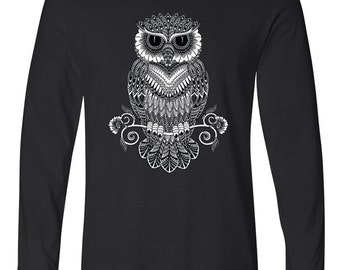 Line Art Owl Long Sleeve T-Shirt Cool Fashion Day Of The Dead Dia De Los Muertos Gothic T-Shirts
